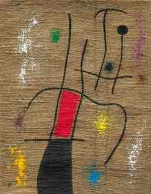 Joan Miró Femme et oiseau V/X (1960) Oil on burlap 54 x 42 cm (21 1/4 x 16 1/2 in) Signed with the initial M (lower left); signed Miró, titled and dated 14/5/60 on the reverse Courtesy of Mayoral